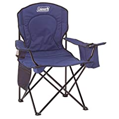 Camping chair combines a cOuncey design with a convenient built in cooler. Roomy 24 inches seat Built in 4 can cooler pouch keeps cold drinks within reach Fully cushioned seat and back provide support and comfort Mesh Cup Holder and Side Pocket for Q...