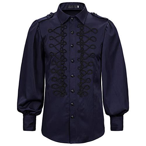 2020 Camisas de Lujo para Hombres Palace Gothic Hombres Vintage Fiesta Social graduación Camisa de Vestir Punk Navy S