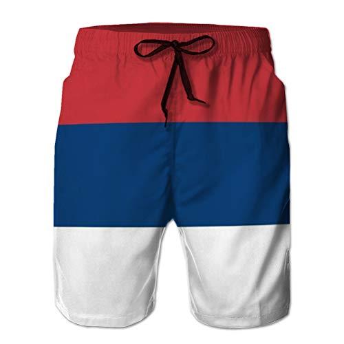 LJKHas232 Herren Beach Swim Trunks Shorts mit Taschenflagge Serbia Tricolor national L
