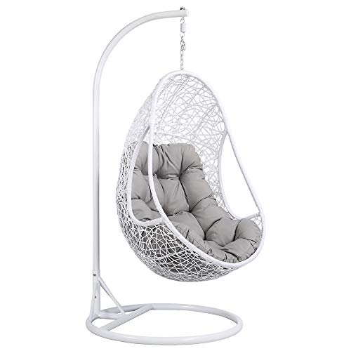 Yaheetech Hanging Rattan Swing Chair With Soft Cushion Armrest Design Outdoor/Indoor Garden Patio Furniture Stand White