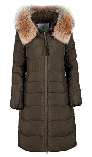 Grimada CW17D-031CH dames winterjas in dons-look Parka CLASNA met echte bontcapuchon