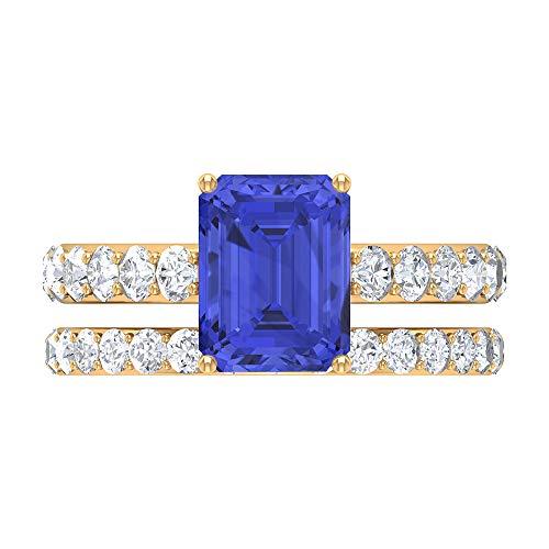 Anillo de tanzanita y moissanita, anillo solitario con banda, anillo de boda de oro (7x9 mm, corte octágono tanzanita), 14K Oro amarillo, Size:EU 67