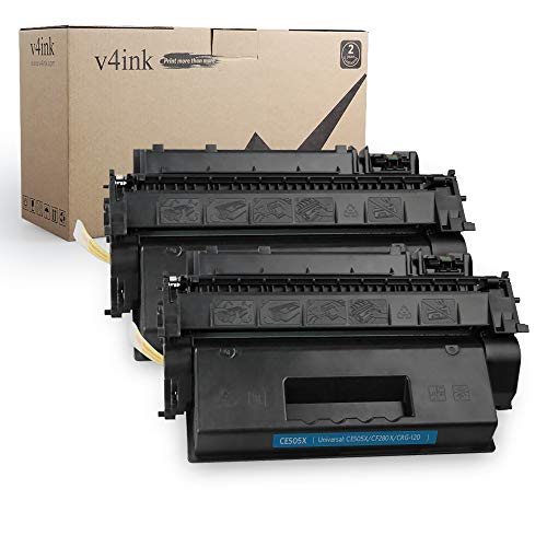 V4INK 2PK Compatible Toner Cartridge Replacement for HP 05X CE505X Toner Black Ink High Yield for use in HP Laserjet P2055dn P2055 P2055D P2055X, HP Pro 400 M401n M401dne M401dw MFP M425dn Printer
