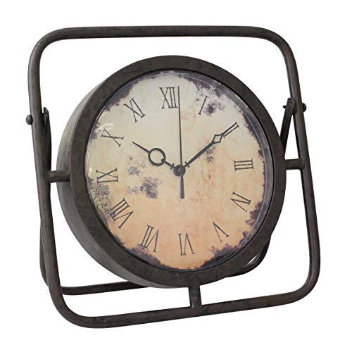 9X6 Inches - vintage desk clock Classic Retro Desk Clock European Style Roman Numeral Teal Blue Vintage Silent Non Ticking Quartz Movement Battery Operated Table Bedside Clock Home Decorative