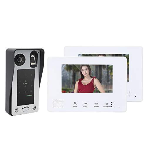 Timbre con Video, Timbre con Video con Cable Monitores de 7 Pulgadas, 2 monitores, Sistema de 2 Cables con luz Blanca, visión Nocturna LED para el hogar y la Oficina