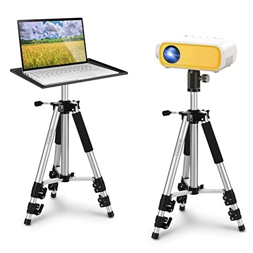 SKERELL Beamer Ständer Multifunktionaler Bodenständer für Projektor&Laptop&Kamera, Tragbarer Aluminium verstellbar Höhe von 18'' bis 48'',mit Platte,Kugelkopf,Tragetasche,Load 33LB(Silber)