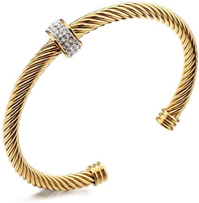 Cable Cuff Bracelets Dorriss Stainless Steel Twisted Wire Composite Bracelet Bangles Adjustable product image