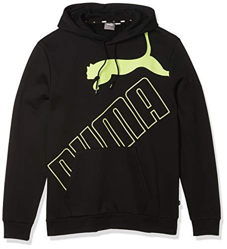 PUMA Men's Big Logo Fleece Hoodie, Black-Sharp Green, XXL