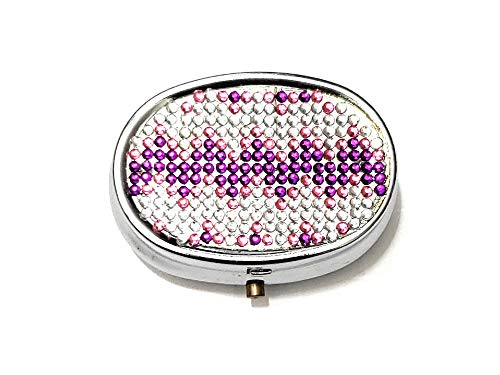 Rhinestone Small Oval Light Up Two Compartment Pill Organizer Case Box (Style 634C)