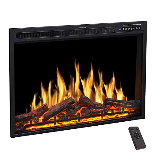 R.W.FLAME Electric Fireplace Insert 37Inch with Adjuatble Flame Colors, Log Colors, Flame Speed and Brightness, Remote Control, 750W/1500W