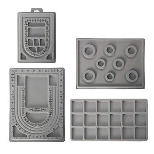 junengSO Bandeja de Abalorios, 4Pcs Grey Flock Beads Tray Design Boards Kit DIY Beading Bracelet Jewelry Tools