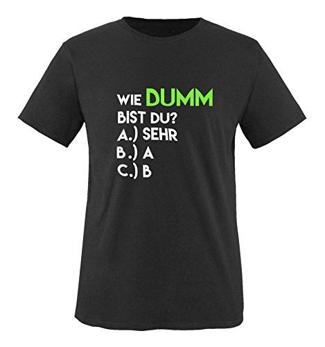 Comedy Shirts - Wie dumm bist du? - Herren T-Shirt - Schwarz/Weiss-Neongrün Gr. 3XL
