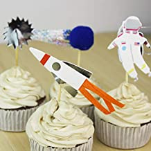 iMagitek 24 Pack Space Astronaut Cupcake Toppers Cake Decorations for Space Theme Party, Kids Birthday Party, Baby Shower