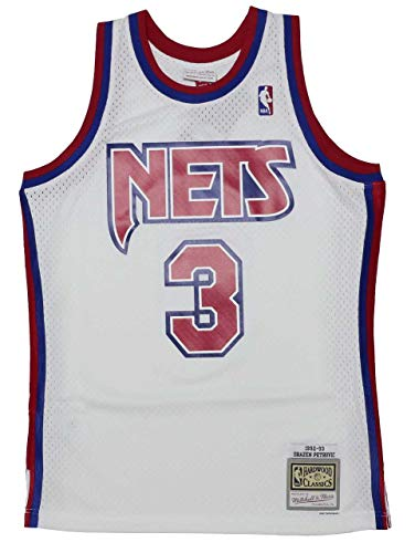 Mitchell & Ness Drazen Petrovic #3 New Jersey Nets 1992-93 Swingman NBA Trikot Weiß, XL