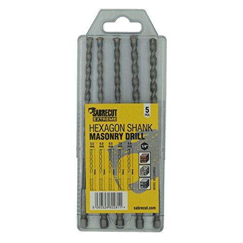 5 x SabreCut SCMPA5 160mm 5.5mm 6mm 6.5mm 7mm 8mm Impact Driver Masonry Hammer Drill Bit Set