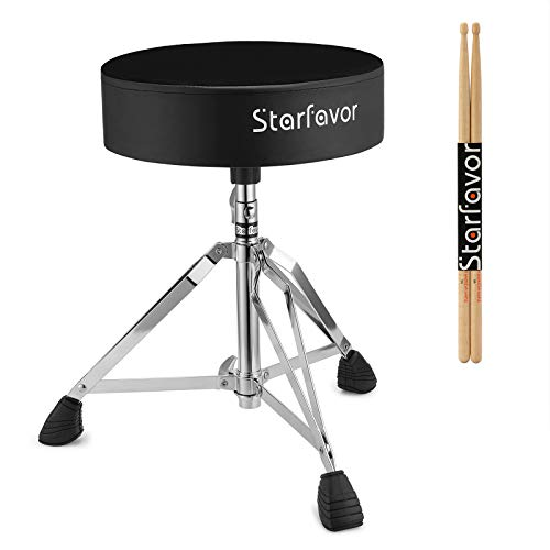 Starfavor Drum Throne Padded Drum Seat Drumming Stools Height Adjustable with 5A Maple Wood Drum Stick, Double Braced and Anti-Slip Feet Seat for Kids and Adults Drummers