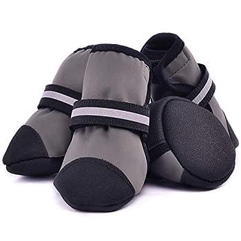 lffopt Botte pour Chien Chaussette Chien Antiderapante Chien Bottes pour Blessés Pattes Étanche Chien Chaussures pour Grands Chiens Chien Chaussons Gray,XXL