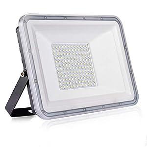 100W Proyector LED exterior IP67 Impermeable Foco exterior 10000 lumen Blanco frío 6500K Iluminación Led Floodlight para jardín garaje estacionamiento almacén Iluminación del paisaje
