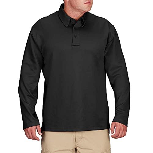 Propper Men's I.C.E Men's Long Sleeve Performance Polo Shirt, Black, Medium Regular