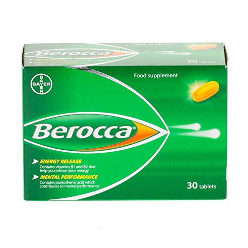 Berocca Vitamin C Film Coated Energy Tablets with Magnesium, Vitamin B12 and Vitamin B Complex, 1 Pack of 30 Tablets - 1 Months Supply