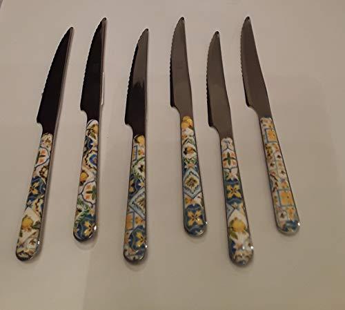 Emporio Zani - Juego de 6 cuchillos para bizcochos mayólica...