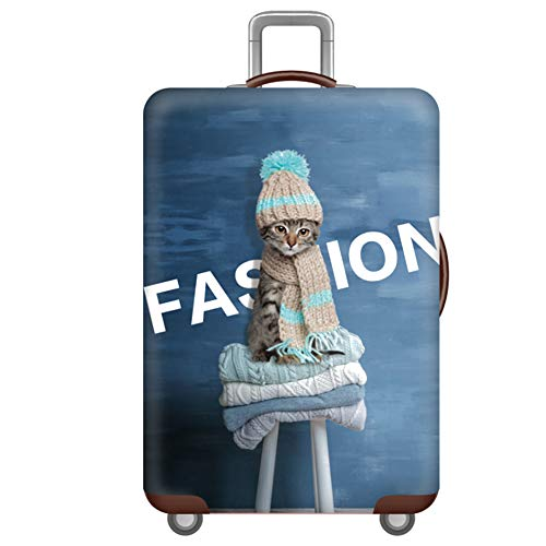 Meijunter Thicken Washable Luggage Cover Protector (Without Suitcase) - Cartoon Cat Blue Suitcase Cover Fit 19'-21' (Size S)