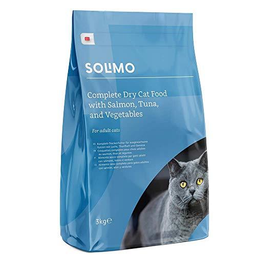 Marchio Amazon - Solimo Alimento secco completo per gatti adulti con salmone, tonno e verdure, 3 confezioni da 3 kg