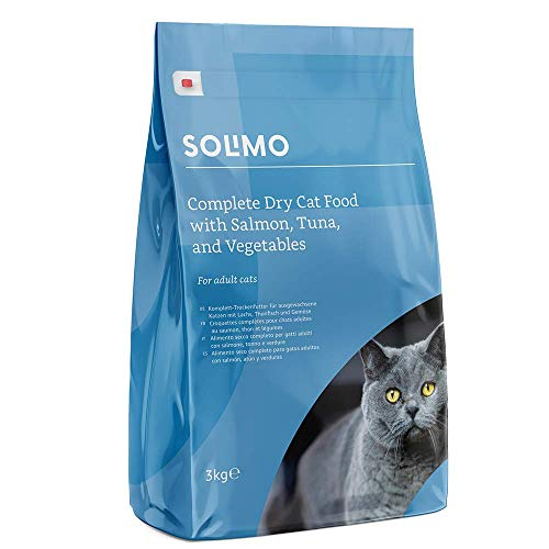 Amazon-Marke: Solimo Komplett-Trockenfutter für erwachsene Katzen mit Lachs, Thunfisch und Gemüse, 3er Pack (3 x 3 kg)