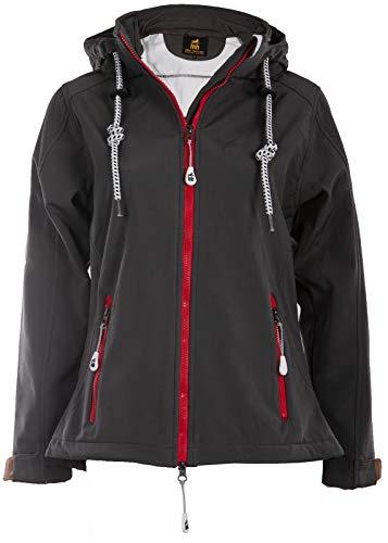 michael heinen Damen Softshelljacke Grau Wasserdicht - Anthrazit 52 - Regenjacke Mit Kapuze Atmungsaktiv