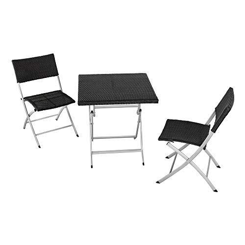 Aktive 61008 Conjunto muebles jardín, mesa y 2 sillas, Multicolor