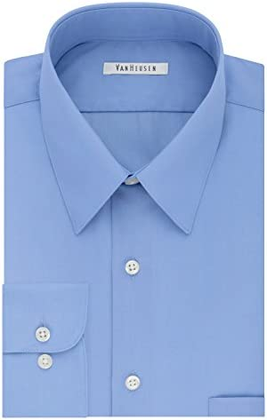 Van Heusen Men s Size FIT Dress Shirts Poplin Big and Tall Cameo Blue 18 Neck 35 36 Sleeve XX product image