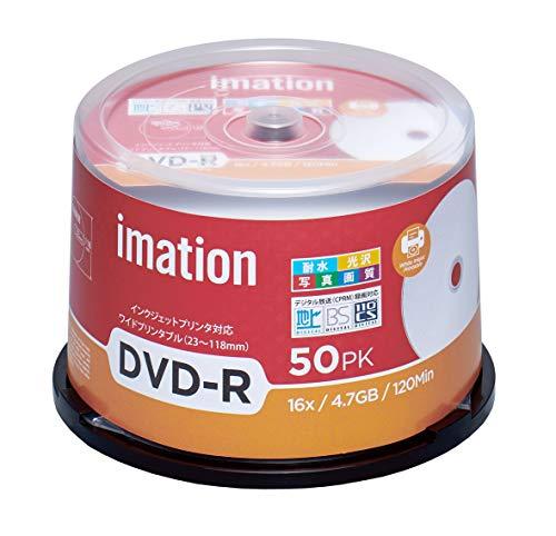 imation イメーション 1回録画用 CPRM対応 耐水・光沢写真画質(ウォーターシールド)DVD-R 120分 IM035 (片面1層/1-16倍速/50枚)