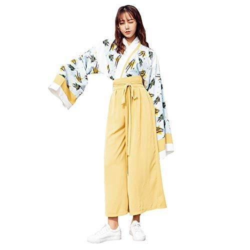 YCWY Art und Weisechinesekleid, modernes verbessertes Hanfu für Lange Hülsenfotoaufnahmekleidung Cosplay Kostüme der Frauen grüne Niederlassungen, die 2-teiliges Set drucken,S