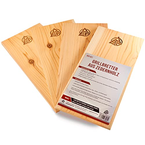 Earth Force 4er Pack Grillbretter aus 100% Western Red Zedernholz 30 cm x 14 cm