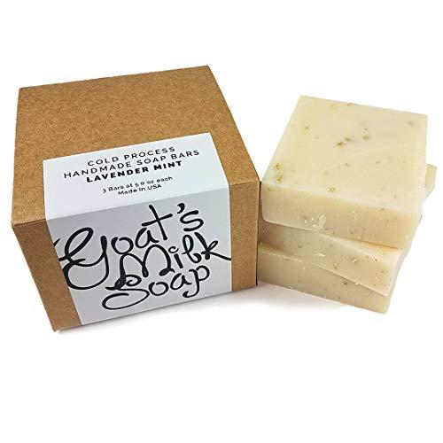 Handmade Fresh Goat's Milk Bar Soap (Lavender Mint, 3 bars (Economy Pack))