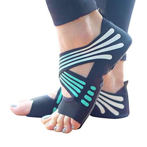 Risefit Non Slip Yoga Socks, Toeless Anti-Skid Pilates, Barre, Ballet, Bikram Workout Socks Shoes with Grips (green, M)