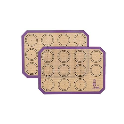 SUPER KITCHEN 2 Stück Backmatte aus Silikon Backunterlage Silikonmatte Backfolie, Antihafte Matte für Macarons Keks, Makronen, Kuchen, Brot, BPA Frei (30 x 21 cm, Violett)