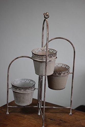 Pflanzständer mit 3 Zinktöpfen, Pflanz-Etagere, H 55 cm