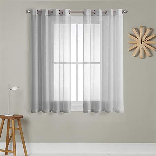 MRTREES Voile Gardinen Vorhang halbtransparent kurz mit Ösen in leinenoptik Stores Gardinen Schals für Wohnzimmer Schlafzimmer Kinderzimmer Grau 175×140cm (H×B) 2er Set