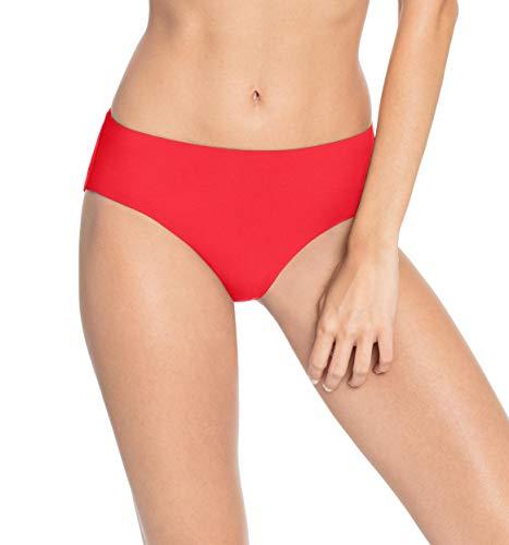 Robin Piccone Women's Ava High Rise Bikini Bottom (Medium, Fiery Red)