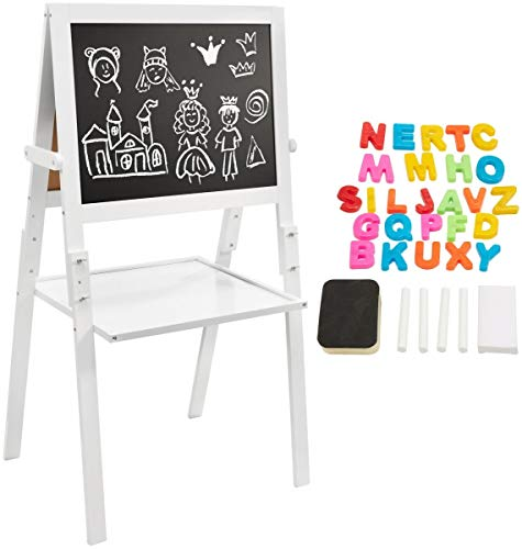 Mamabrum Pizarra Magnética Infantil de Madera 2 en 1, Pizarra de Doble Cara y Altura Ajustable con Letras, Tiza y Esponja, Caballete de Pintura para Niños, Pies Desmontables y Pintura ecológica