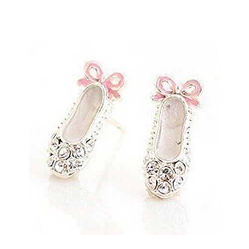 ARMAC Pendientes de diamantes completos lindos pendientes de ballet, aretes, aretes, aretes, moda coreana