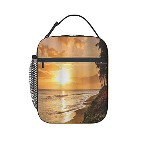 FAKAINU Bolsa de almuerzo Cálida puesta de sol tropical en la playa en Maui Hawaii Viajes, Caja de almuerzo Bolsa de almuerzo con aislamiento térmico con correa para el hombro para hombres adultos La
