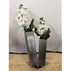Edelstahl Blumenvase Vase Vasen eckig rostfrei Spülmaschinen geeignet geschliffen 40×40 Dekoration Deko silber modern