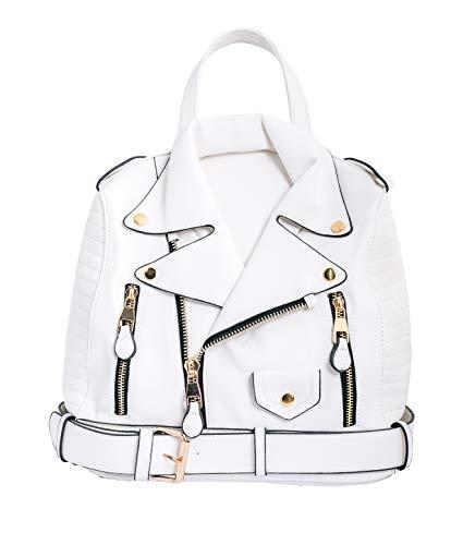 Paula Rossi bolso mochila mujer antirrobo chaqueta casual negro baratos barata elegante grande original polipiel seguro tachuelas vintage (blanco)