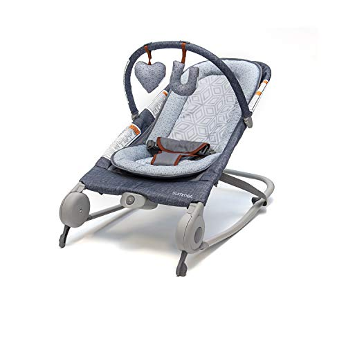 Summer Infant 2-in-1 Baby Bouncer & Baby Rocker Duo (Heather Gray) with Soothing Vibrations, Removable Toys & Compact Fold for Storage or Travel - Easy to Clean