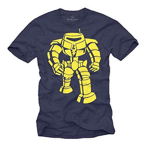 MAKAYA Maglia Big Bang a Maniche Corte Uomo - Robo Sheldon Maglietta Bazinga Theory T-Shirt Blu Taglia M