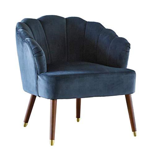 Kastellan Lounge Sessel Samt Clubsessel im dunklen Grau | Dunkelgrauer Samtbezug des Muschelsessels | Im Retro Design |Retro Vintage Sessel für Wohnräume und Untenehmen