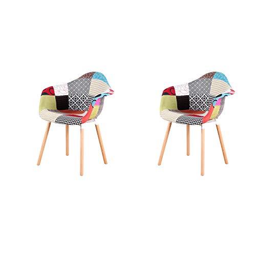 ArtDesign FR Ensemble de 2 Fauteuils Patchwork Multicolores Lin Tissu Loisirs Salon Chaises de Coin Chaises de...