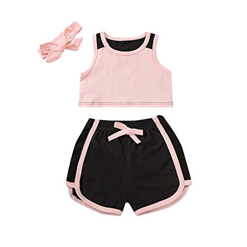 Traje Deportivo de Verano de 2 Piezas Baby Girl Baby Girl Soft Top Mangas+Pantalones Cortos elásticos con Rayas+Diadema (Rosa, 120)